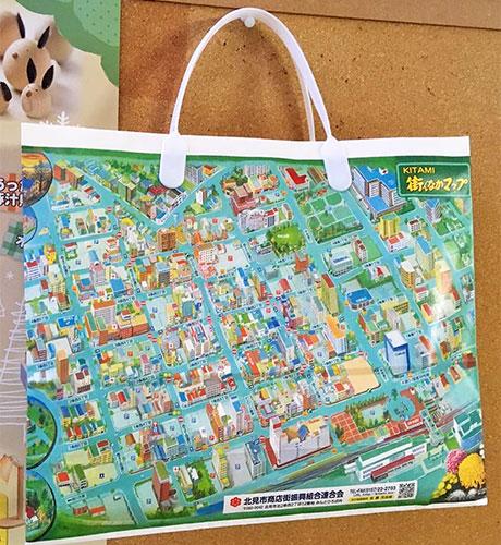 商店街地図を印刷した商店街オリジナルの紙袋